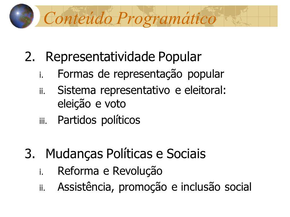 Conteúdo Programático 2.Representatividade Popular i. Formas de representação popular ii. Sistema representativo e eleitoral: eleição e voto iii. Part