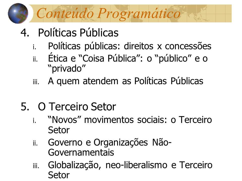 Conteúdo Programático 4.Políticas Públicas i. Políticas públicas: direitos x concessões ii. Ética e Coisa Pública: o público e o privado iii. A quem a