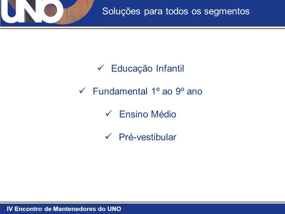 IV Encontro de Mantenedores do UNO Educação Infantil Fundamental 1º ao 9º ano Ensino Médio Pré-vestibular Soluções para todos os segmentos