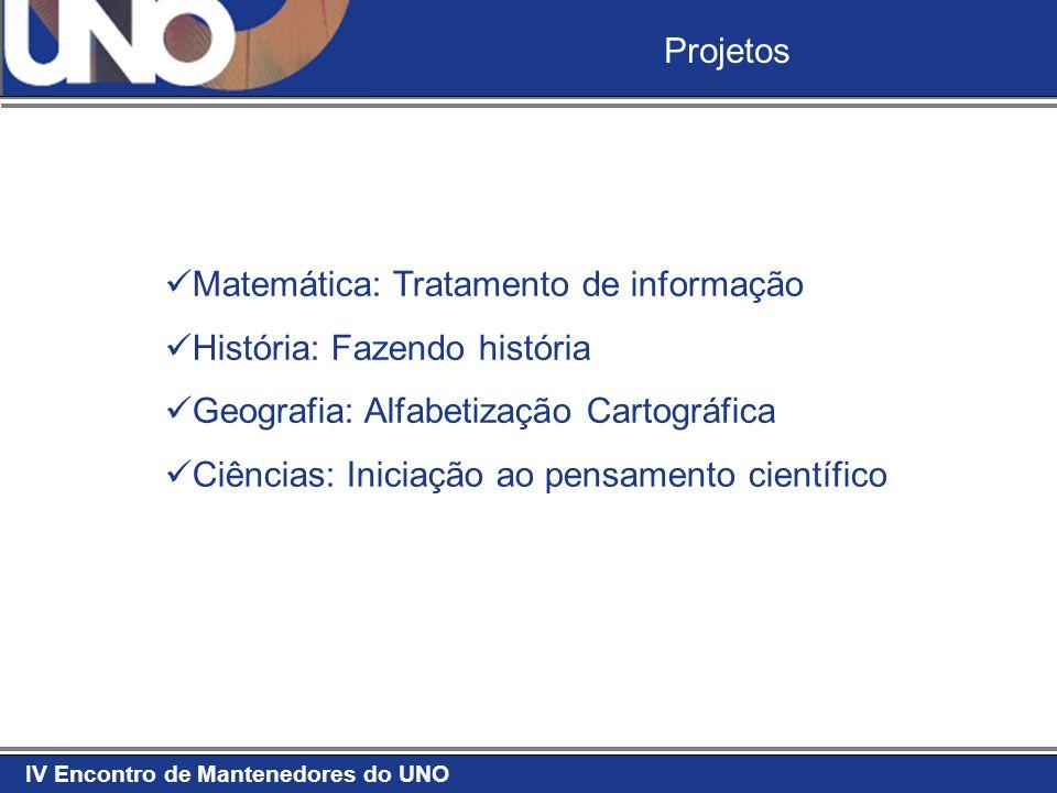 IV Encontro de Mantenedores do UNO Projetos Matemática: Tratamento de informação História: Fazendo história Geografia: Alfabetização Cartográfica Ciên