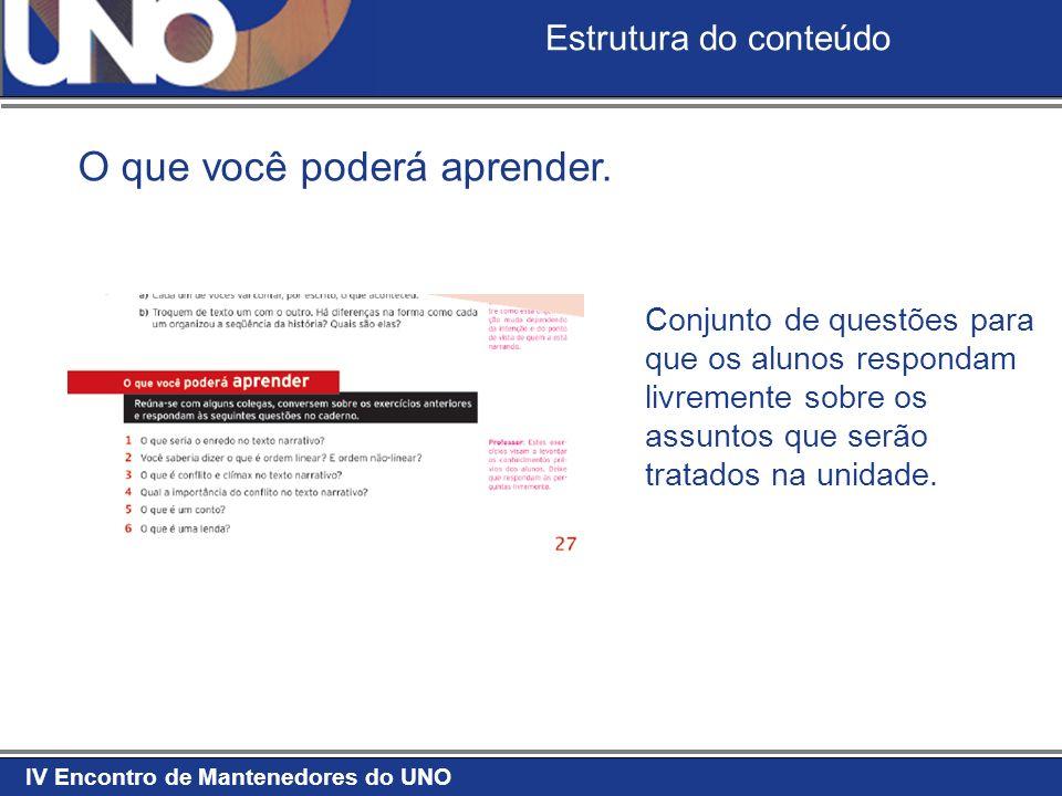 IV Encontro de Mantenedores do UNO Estrutura do conteúdo O que você poderá aprender. Conjunto de questões para que os alunos respondam livremente sobr
