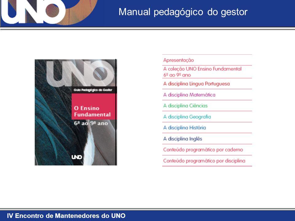 IV Encontro de Mantenedores do UNO Manual da disciplina O ensino de Língua Portuguesa O ensino de Ciências O ensino de Matemática O ensino de História O ensino de Geografia O ensino de Inglês O ensino de Espanhol