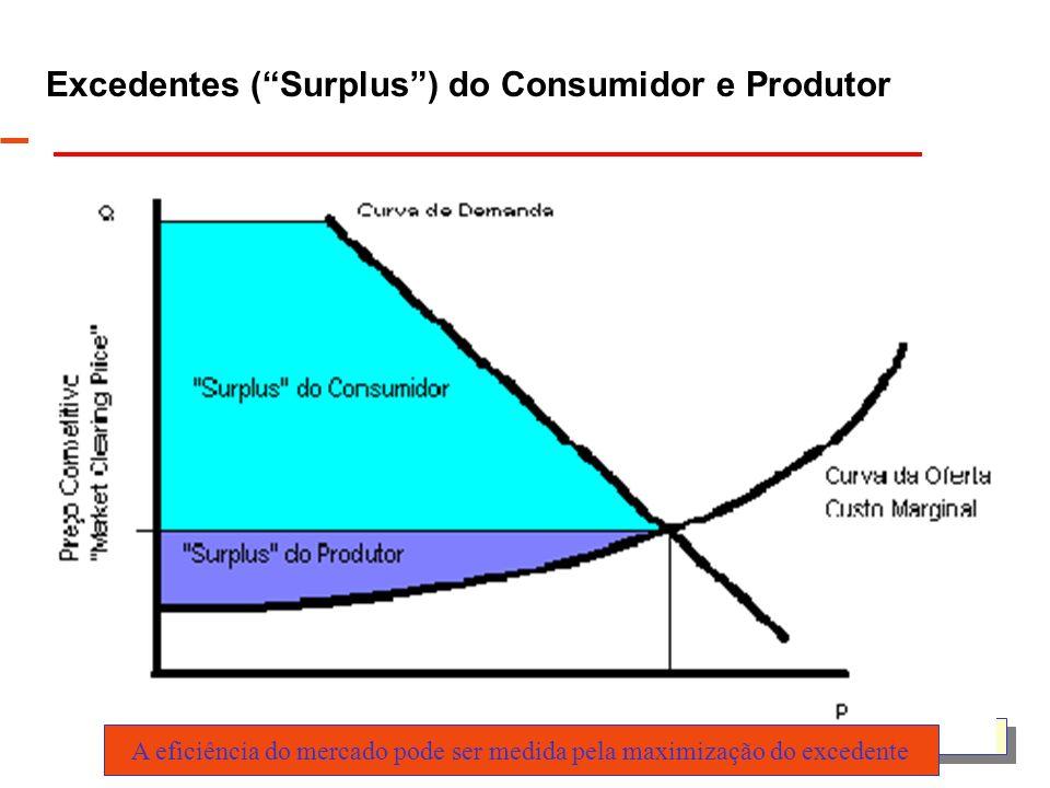 UFSC/EEL/Labplan Excedentes (Surplus) do Consumidor e Produtor A eficiência do mercado pode ser medida pela maximização do excedente