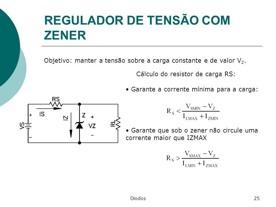 Diodos25 REGULADOR DE TENSÃO COM ZENER Objetivo: manter a tensão sobre a carga constante e de valor V Z. Cálculo do resistor de carga RS: Garante a co