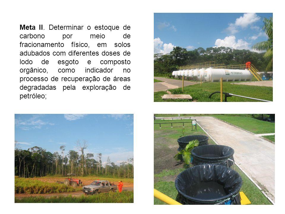 Meta II. Determinar o estoque de carbono por meio de fracionamento físico, em solos adubados com diferentes doses de lodo de esgoto e composto orgânic