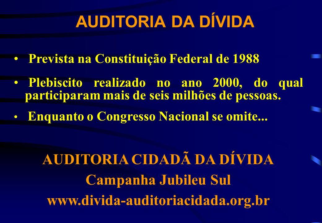 AUDITORIA DA DÍVIDA Prevista na Constituição Federal de 1988 Plebiscito realizado no ano 2000, do qual participaram mais de seis milhões de pessoas. E
