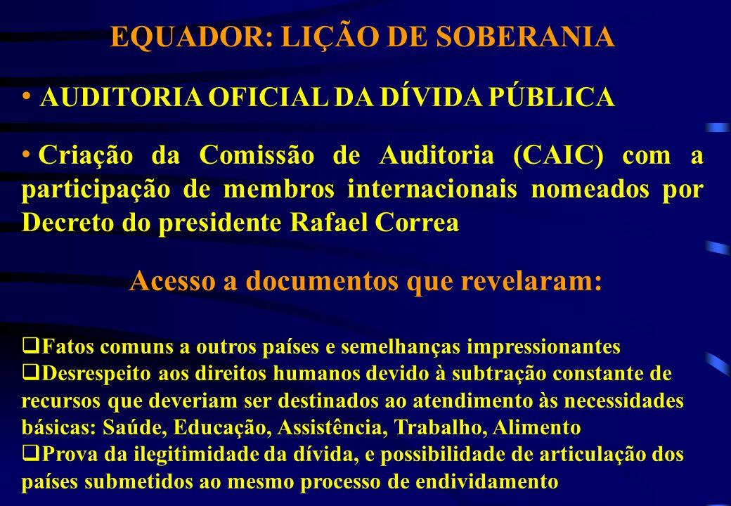 EQUADOR: LIÇÃO DE SOBERANIA AUDITORIA OFICIAL DA DÍVIDA PÚBLICA Criação da Comissão de Auditoria (CAIC) com a participação de membros internacionais n