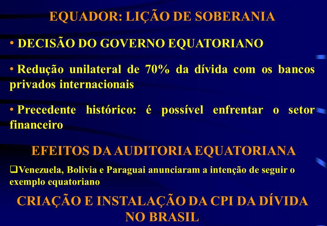 EQUADOR: LIÇÃO DE SOBERANIA DECISÃO DO GOVERNO EQUATORIANO Redução unilateral de 70% da dívida com os bancos privados internacionais Precedente histór