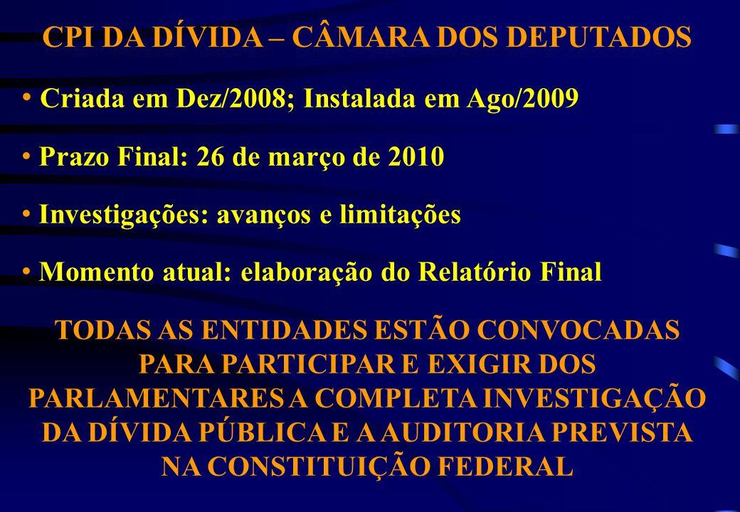 CPI DA DÍVIDA – CÂMARA DOS DEPUTADOS Criada em Dez/2008; Instalada em Ago/2009 Prazo Final: 26 de março de 2010 Investigações: avanços e limitações Mo