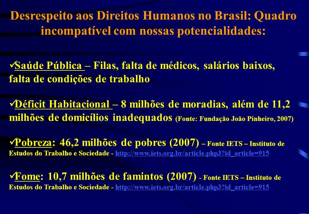 Desrespeito aos Direitos Humanos no Brasil: Quadro incompatível com nossas potencialidades: Saúde Pública – Filas, falta de médicos, salários baixos,