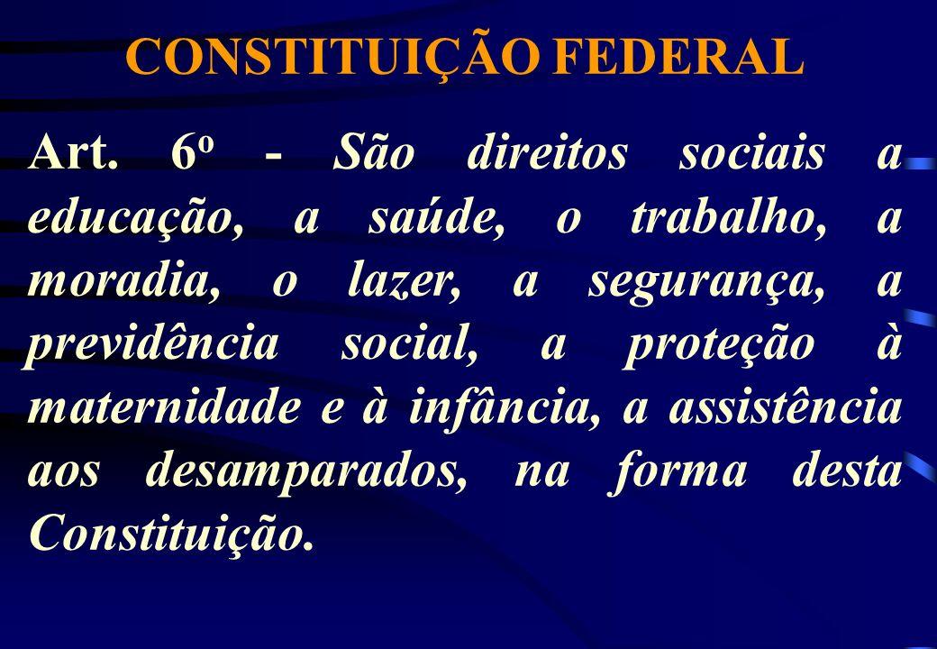 CONSTITUIÇÃO FEDERAL Art. 6 o - São direitos sociais a educação, a saúde, o trabalho, a moradia, o lazer, a segurança, a previdência social, a proteçã