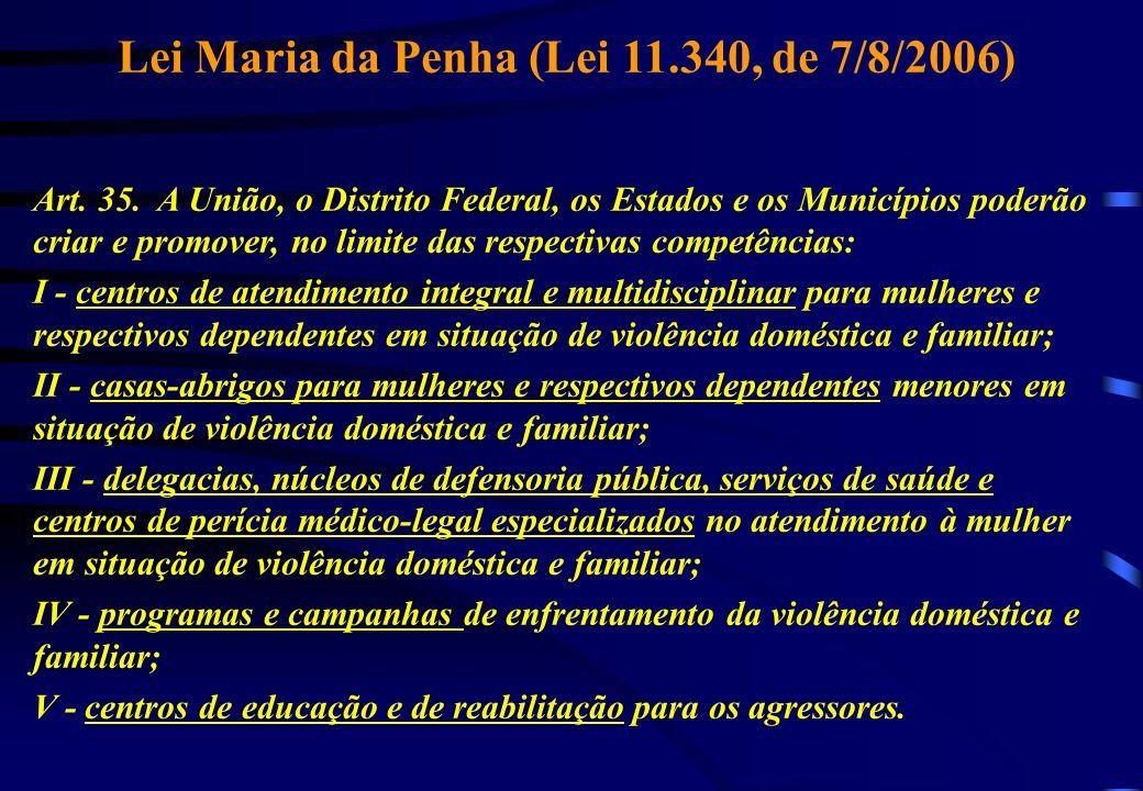 Lei Maria da Penha (Lei 11.340, de 7/8/2006) Art. 35. A União, o Distrito Federal, os Estados e os Municípios poderão criar e promover, no limite das
