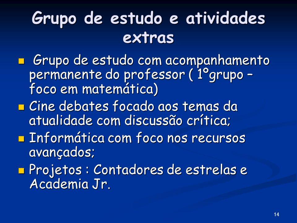 14 Grupo de estudo e atividades extras Grupo de estudo com acompanhamento permanente do professor ( 1ºgrupo – foco em matemática) Grupo de estudo com