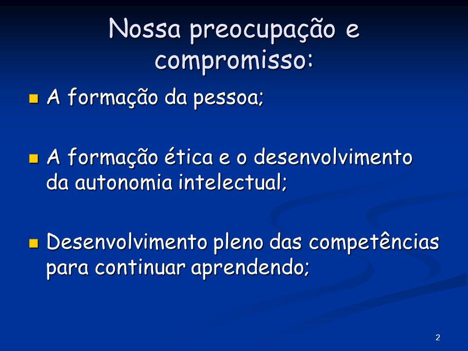 2 Nossa preocupação e compromisso: A formação da pessoa; A formação da pessoa; A formação ética e o desenvolvimento da autonomia intelectual; A formaç