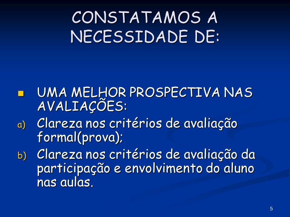 6 PROSPECTIVAS NAS AVALIAÇÕES: REALIZADAS TRIMESTRALMENTE COM PESOS 1, 1 E 2; REALIZADAS TRIMESTRALMENTE COM PESOS 1, 1 E 2; POR NOTAS (0 A 10) GRADUADA COM INTERVALO DE 0,1(UM DÉCIMO) ; POR NOTAS (0 A 10) GRADUADA COM INTERVALO DE 0,1(UM DÉCIMO) ; APROVAÇÃO COM MÉDIA IGUAL OU SUPERIOR A 5,0(CINCO) APROVAÇÃO COM MÉDIA IGUAL OU SUPERIOR A 5,0(CINCO)