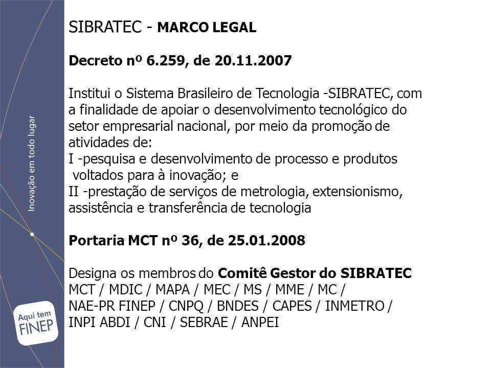 SIBRATEC - MARCO LEGAL Decreto nº 6.259, de 20.11.2007 Institui o Sistema Brasileiro de Tecnologia -SIBRATEC, com a finalidade de apoiar o desenvolvimento tecnológico do setor empresarial nacional, por meio da promoção de atividades de: I -pesquisa e desenvolvimento de processo e produtos voltados para à inovação; e II -prestação de serviços de metrologia, extensionismo, assistência e transferência de tecnologia Portaria MCT nº 36, de 25.01.2008 Designa os membros do Comitê Gestor do SIBRATEC MCT / MDIC / MAPA / MEC / MS / MME / MC / NAE-PR FINEP / CNPQ / BNDES / CAPES / INMETRO / INPI ABDI / CNI / SEBRAE / ANPEI