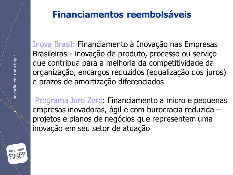 Financiamentos reembolsáveis Inova Brasil: Financiamento à Inovação nas Empresas Brasileiras - inovação de produto, processo ou serviço que contribua para a melhoria da competitividade da organização, encargos reduzidos (equalização dos juros) e prazos de amortização diferenciados Programa Juro Zero: Financiamento a micro e pequenas empresas inovadoras, ágil e com burocracia reduzida – projetos e planos de negócios que representem uma inovação em seu setor de atuação