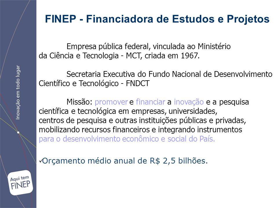 FINEP - Financiadora de Estudos e Projetos Empresa pública federal, vinculada ao Ministério da Ciência e Tecnologia - MCT, criada em 1967.