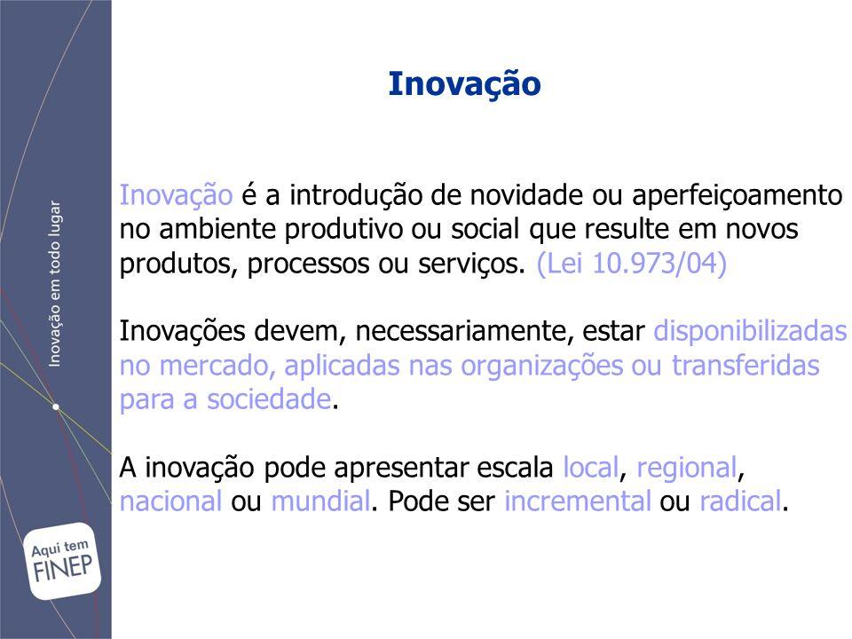 Inovação Inovação é a introdução de novidade ou aperfeiçoamento no ambiente produtivo ou social que resulte em novos produtos, processos ou serviços.