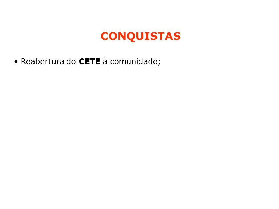 Reabertura do CETE à comunidade; CONQUISTAS