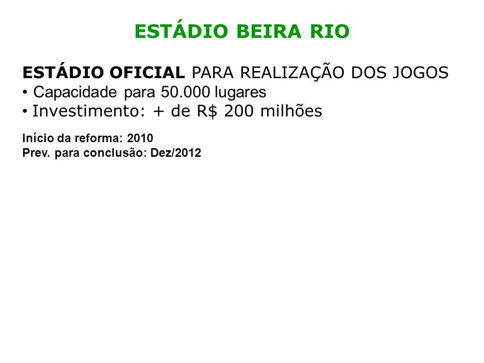 ESTÁDIO BEIRA RIO ESTÁDIO OFICIAL PARA REALIZAÇÃO DOS JOGOS Capacidade para 50.000 lugares Investimento: + de R$ 200 milhões Início da reforma: 2010 P