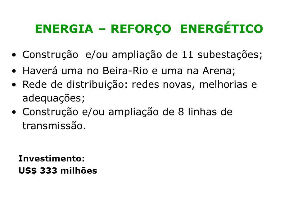 ENERGIA – REFORÇO ENERGÉTICO Construção e/ou ampliação de 11 subestações; Haverá uma no Beira-Rio e uma na Arena; Rede de distribuição: redes novas, m