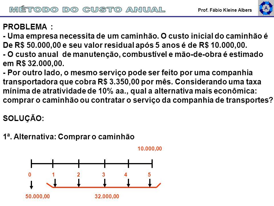 Prof. Fábio Kleine Albers PROBLEMA : - Uma empresa necessita de um caminhão. O custo inicial do caminhão é De R$ 50.000,00 e seu valor residual após 5