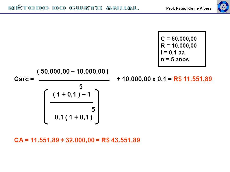 Prof. Fábio Kleine Albers ( 50.000,00 – 10.000,00 ) Carc = + 10.000,00 x 0,1 = R$ 11.551,89 5 ( 1 + 0,1 ) – 1 5 0,1 ( 1 + 0,1 ) CA = 11.551,89 + 32.00