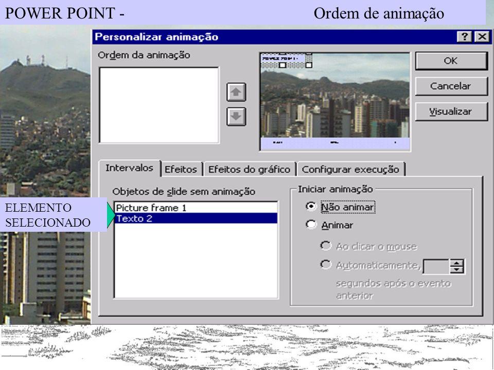 POWER POINT - Ordem de animação ELEMENTO SELECIONADO