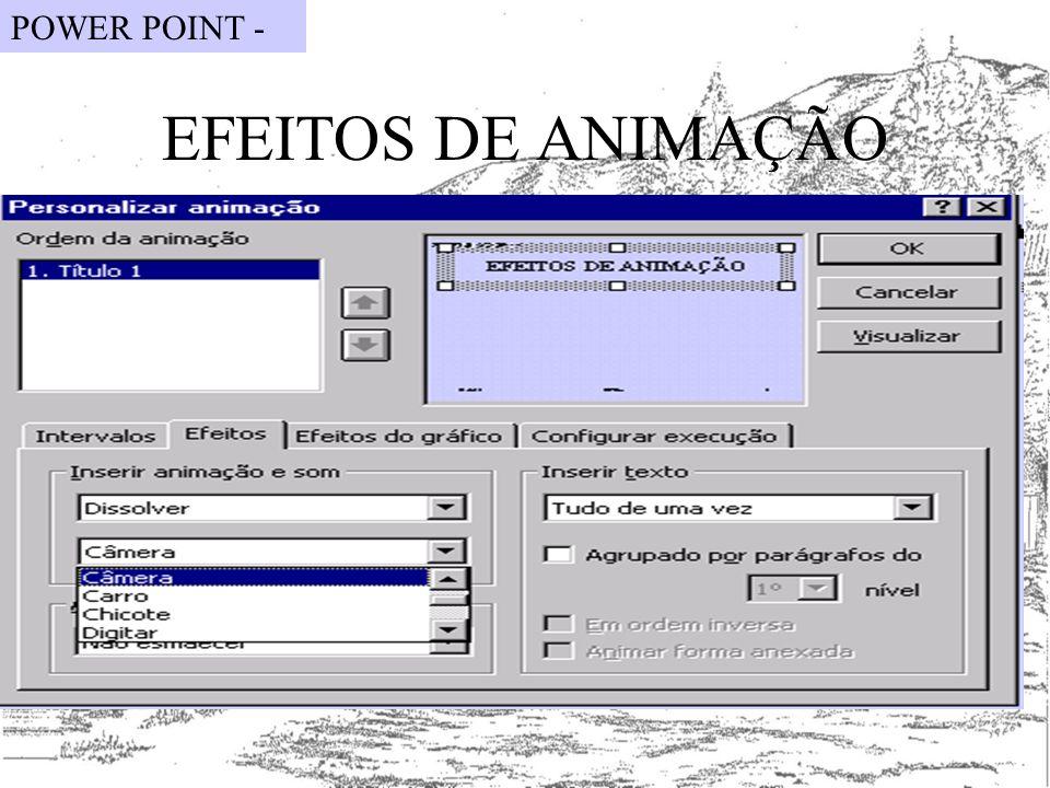 EFEITOS DE ANIMAÇÃO POWER POINT -