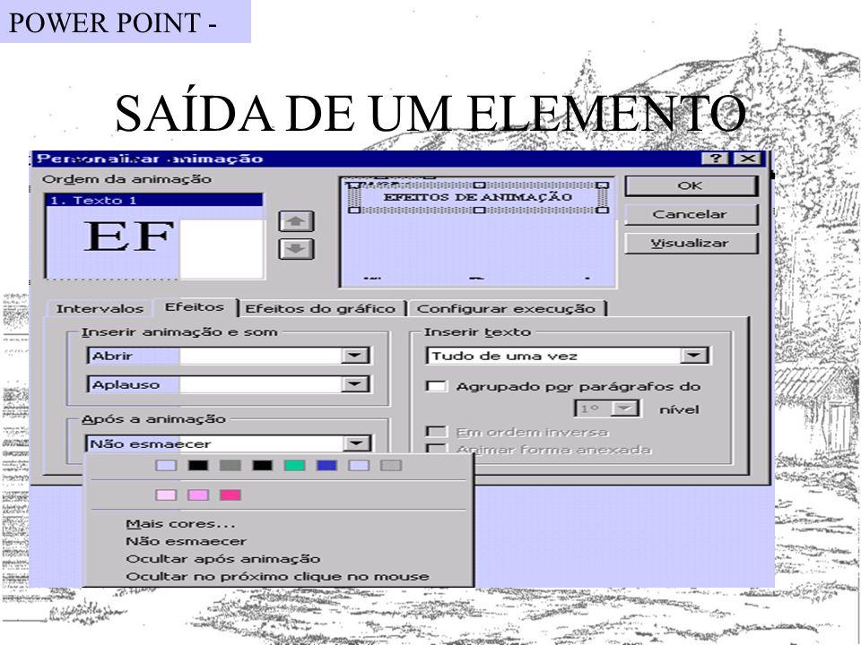 SAÍDA DE UM ELEMENTO POWER POINT -
