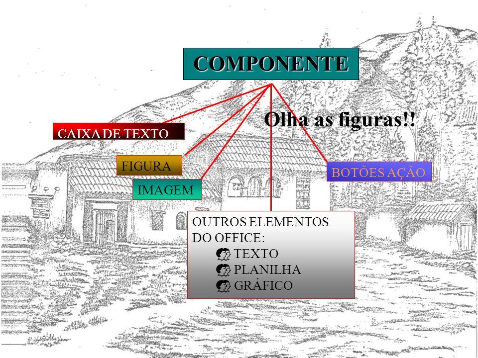 COMPONENTE BOTÕES AÇÃO IMAGEM FIGURA CAIXA DE TEXTO OUTROS ELEMENTOS DO OFFICE: TEXTO PLANILHA GRÁFICO Olha as figuras!!