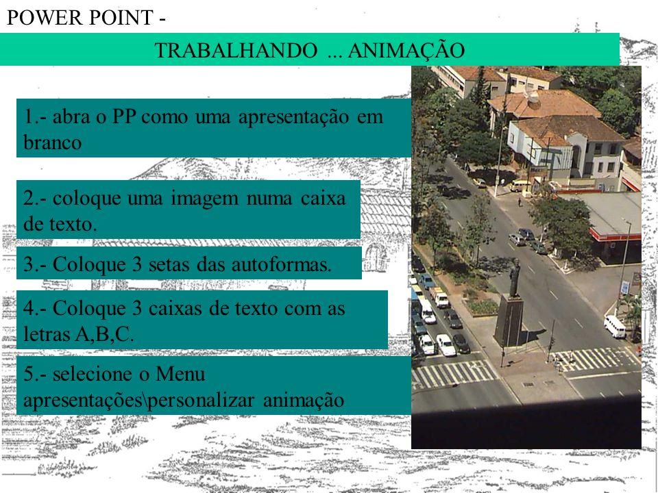 TRABALHANDO... ANIMAÇÃO POWER POINT - 1.- abra o PP como uma apresentação em branco 2.- coloque uma imagem numa caixa de texto. 3.- Coloque 3 setas da