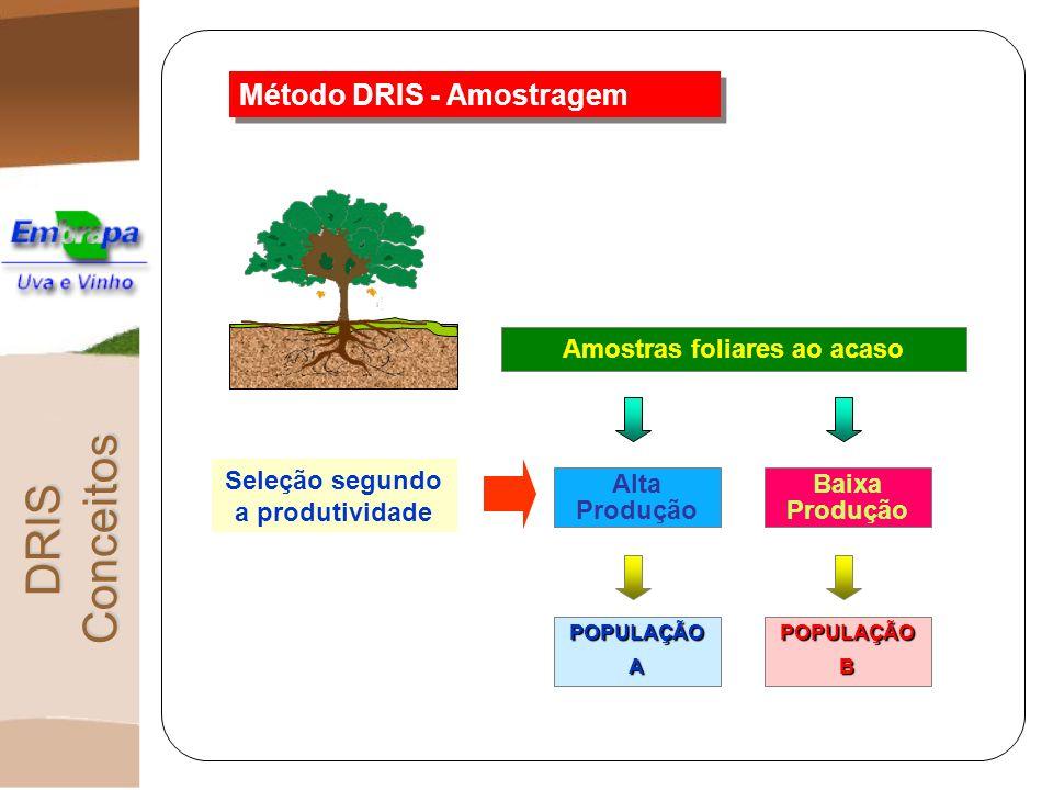Método DRIS - Amostragem POPULAÇÃOAPOPULAÇÃOB Amostras foliares ao acaso Alta Produção Baixa Produção Seleção segundo a produtividade DRIS Conceitos