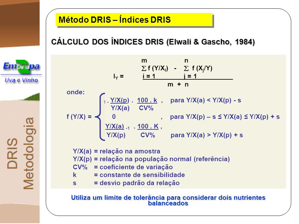 Método DRIS – Índices DRIS CÁLCULO DOS ÍNDICES DRIS (Elwali & Gascho, 1984) Utiliza um limite de tolerância para considerar dois nutrientes balanceado