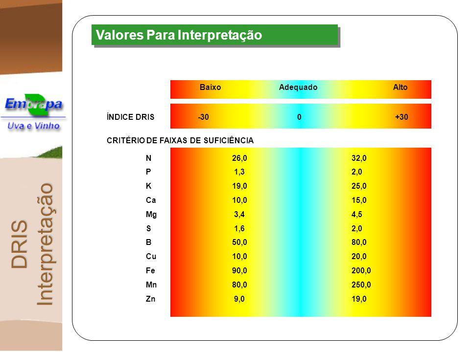 Valores Para Interpretação DRIS Interpretação BaixoAdequadoAlto -30 0 +30ÍNDICE DRIS CRITÉRIO DE FAIXAS DE SUFICIÊNCIA N26,032,0 P1,32,0 K19,025,0 Ca1