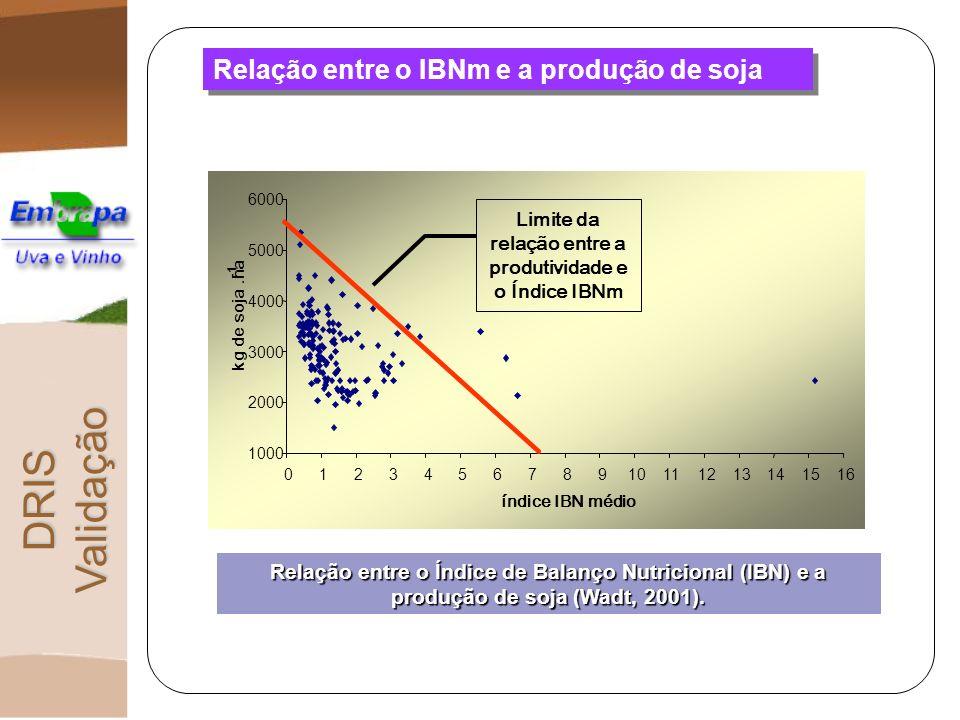 Relação entre o IBNm e a produção de soja DRIS Validação 1000 2000 3000 4000 5000 6000 012345678910111213141516 índice IBN médio kg de soja.ha Limite
