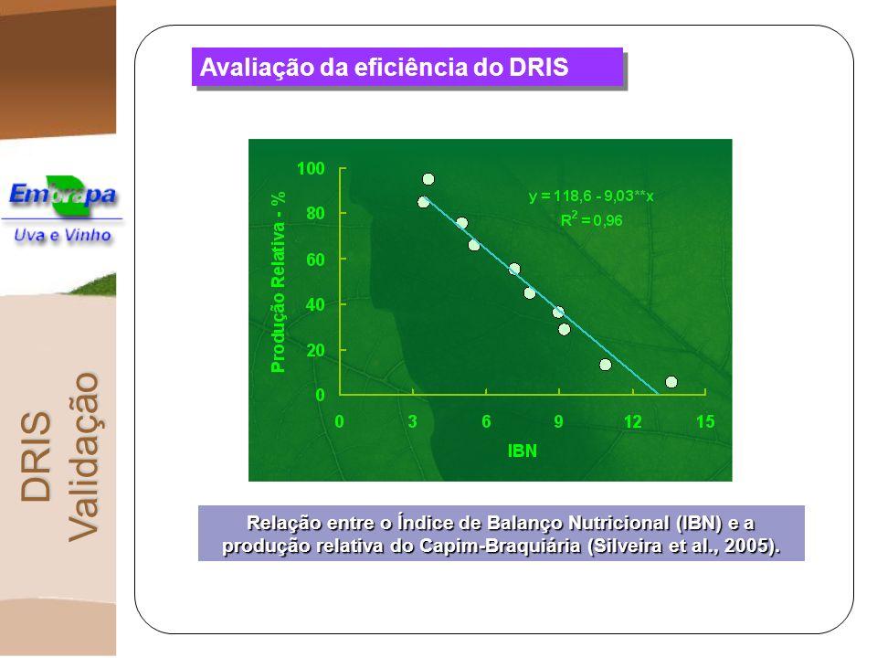 Avaliação da eficiência do DRIS DRIS Validação Relação entre o Índice de Balanço Nutricional (IBN) e a produção relativa do Capim-Braquiária (Silveira