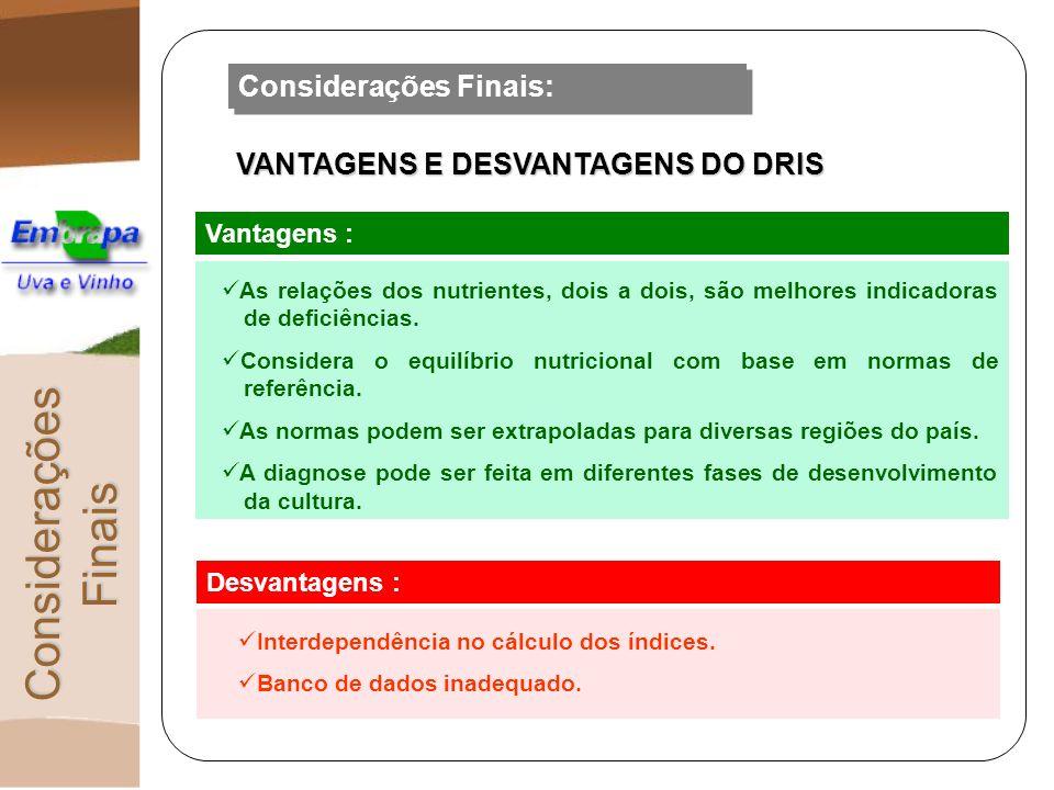 Considerações Finais: VANTAGENS E DESVANTAGENS DO DRIS Vantagens : As relações dos nutrientes, dois a dois, são melhores indicadoras de deficiências.