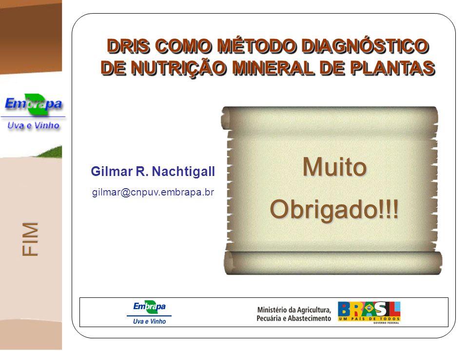 FIM DRIS COMO MÉTODO DIAGNÓSTICO DE NUTRIÇÃO MINERAL DE PLANTAS MuitoObrigado!!! Gilmar R. Nachtigall gilmar@cnpuv.embrapa.br