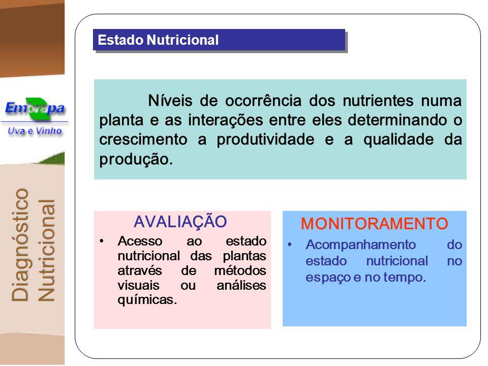 DiagnósticoNutricional Diagnose Foliar PRINCÍPIOS BÁSICOS O nível de nutrientes dentro da planta é um valor integral de todos os fatores que interagiram para influenciá-lo.