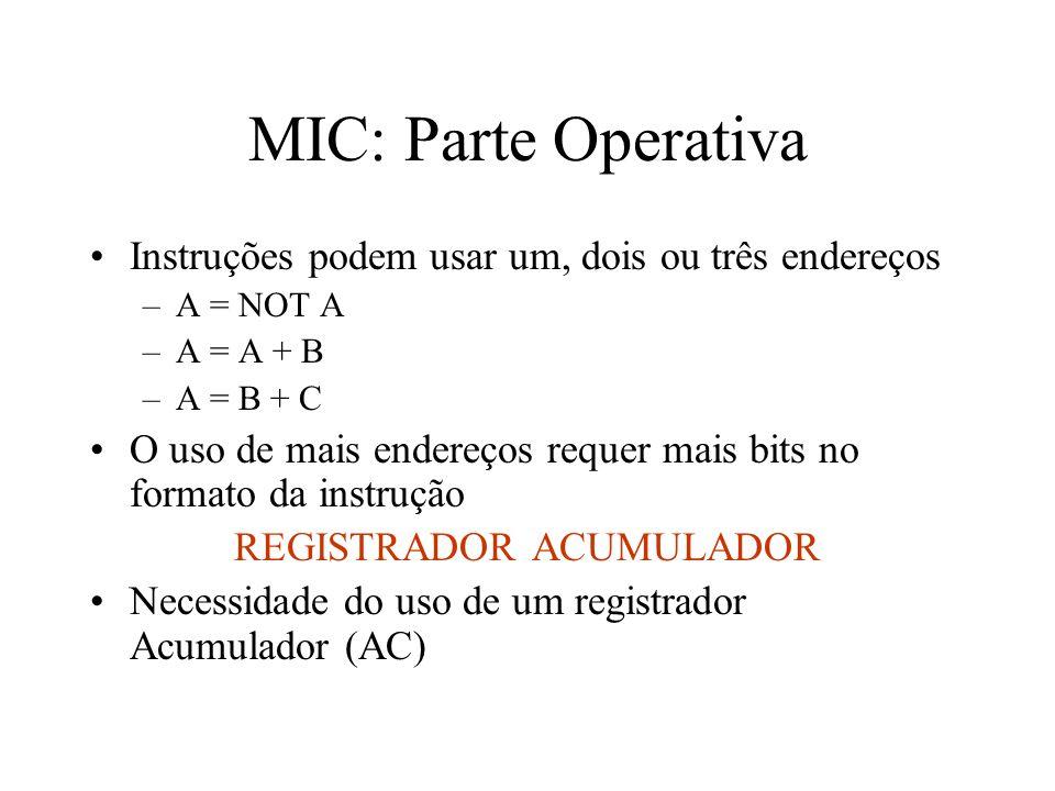 MIC: Parte Operativa Instruções podem usar um, dois ou três endereços –A = NOT A –A = A + B –A = B + C O uso de mais endereços requer mais bits no formato da instrução REGISTRADOR ACUMULADOR Necessidade do uso de um registrador Acumulador (AC)