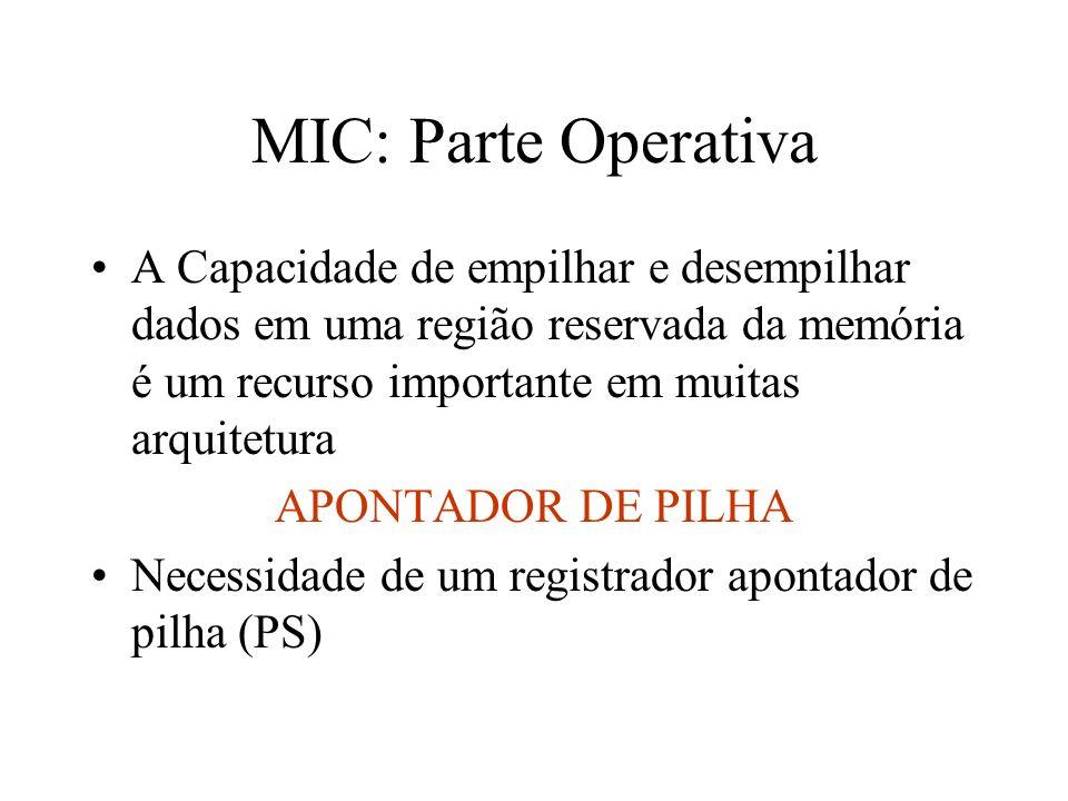 MIC: Parte Operativa A Capacidade de empilhar e desempilhar dados em uma região reservada da memória é um recurso importante em muitas arquitetura APONTADOR DE PILHA Necessidade de um registrador apontador de pilha (PS)