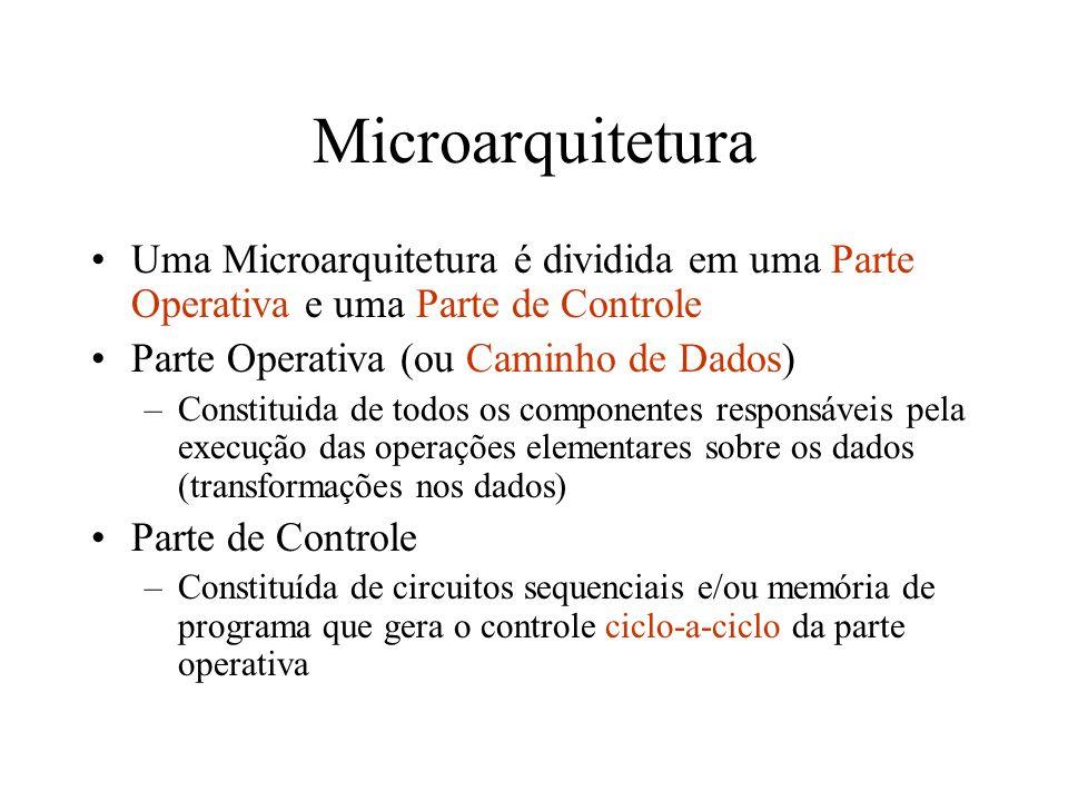 Microarquitetura Uma Microarquitetura é dividida em uma Parte Operativa e uma Parte de Controle Parte Operativa (ou Caminho de Dados) –Constituida de todos os componentes responsáveis pela execução das operações elementares sobre os dados (transformações nos dados) Parte de Controle –Constituída de circuitos sequenciais e/ou memória de programa que gera o controle ciclo-a-ciclo da parte operativa