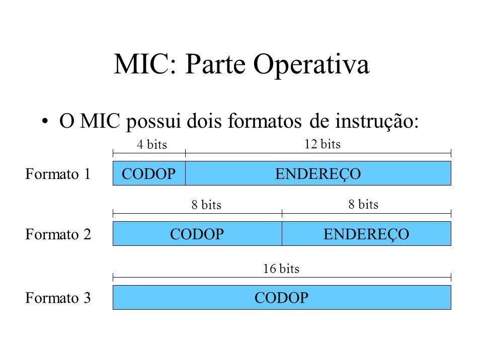 MIC: Parte Operativa O MIC possui dois formatos de instrução: ENDEREÇOCODOP 4 bits 12 bits ENDEREÇOCODOP 8 bits CODOP 16 bits Formato 1 Formato 2 Formato 3