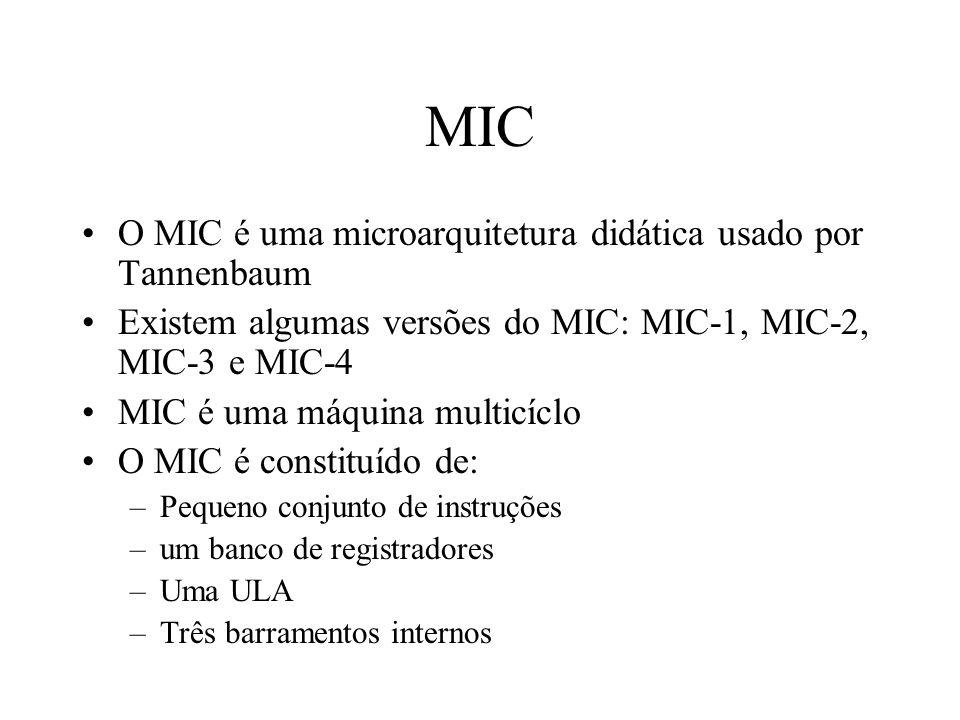 MIC O MIC é uma microarquitetura didática usado por Tannenbaum Existem algumas versões do MIC: MIC-1, MIC-2, MIC-3 e MIC-4 MIC é uma máquina multicíclo O MIC é constituído de: –Pequeno conjunto de instruções –um banco de registradores –Uma ULA –Três barramentos internos