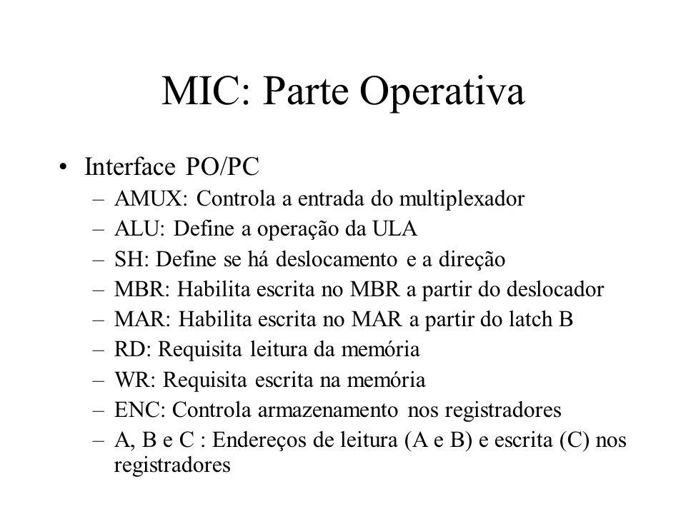 MIC: Parte Operativa Interface PO/PC –AMUX: Controla a entrada do multiplexador –ALU: Define a operação da ULA –SH: Define se há deslocamento e a direção –MBR: Habilita escrita no MBR a partir do deslocador –MAR: Habilita escrita no MAR a partir do latch B –RD: Requisita leitura da memória –WR: Requisita escrita na memória –ENC: Controla armazenamento nos registradores –A, B e C : Endereços de leitura (A e B) e escrita (C) nos registradores