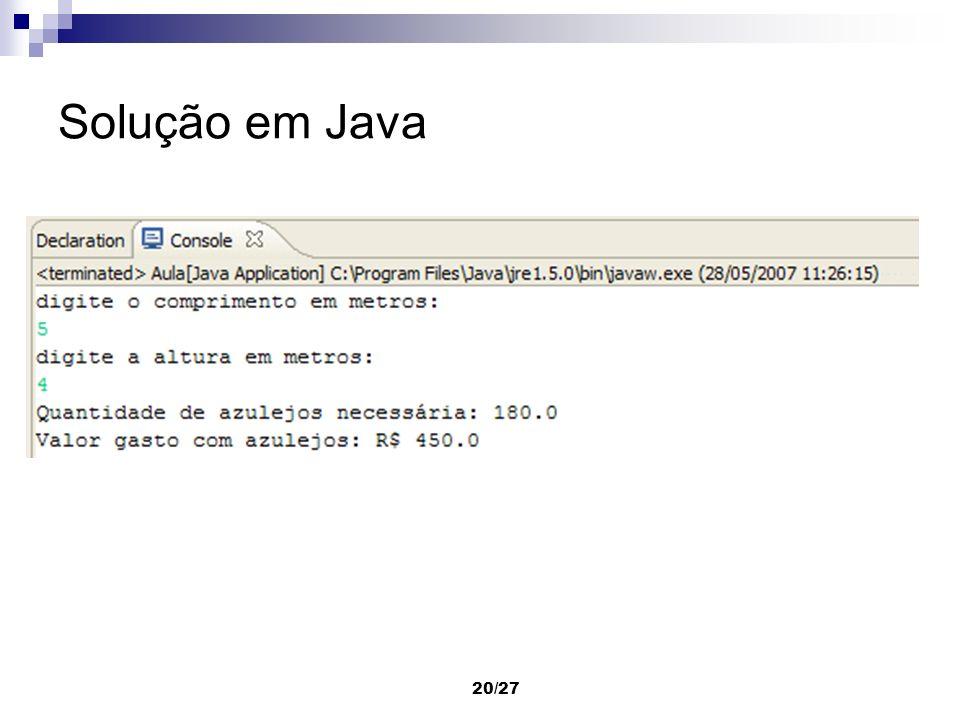 20/27 Solução em Java