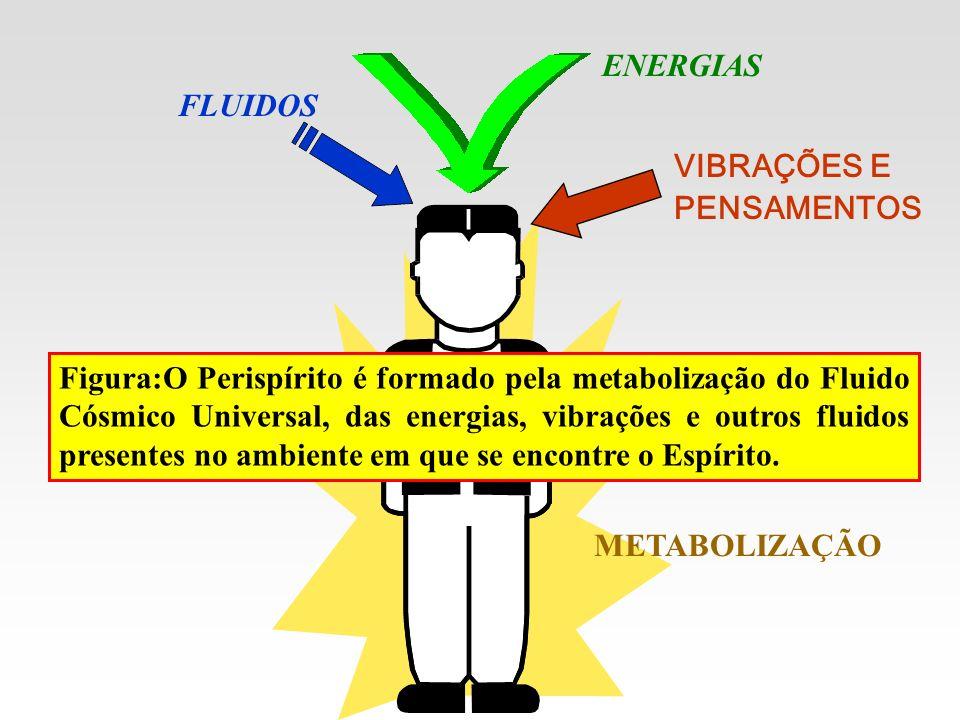 FLUIDOS METABOLIZAÇÃO ENERGIAS VIBRAÇÕES E PENSAMENTOS Figura:O Perispírito é formado pela metabolização do Fluido Cósmico Universal, das energias, vi