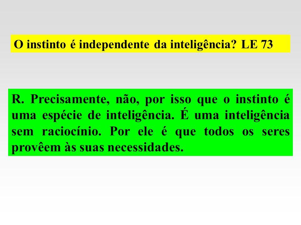 O instinto é independente da inteligência? LE 73 R. Precisamente, não, por isso que o instinto é uma espécie de inteligência. É uma inteligência sem r